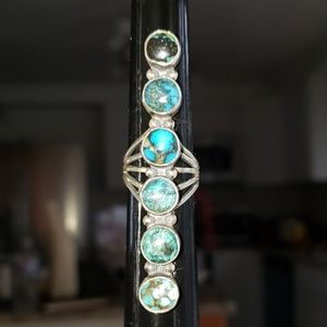 Turquoise Sterling Silver Handcrafted Ring Sz 6.75